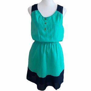 Merona XS/TP Green Blue Tank Slip Pockets Dress